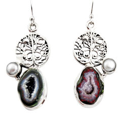 925 silver 12.11cts natural brown geode druzy pearl tree of life earrings r12011