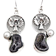 12.96cts natural brown geode druzy pearl 925 silver eagle charm earrings r12012
