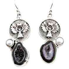 13.85cts natural brown geode druzy pearl 925 silver eagle charm earrings r12013
