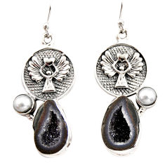 12.96cts natural brown geode druzy pearl 925 silver eagle charm earrings r12014