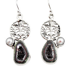 925 silver 11.24cts natural brown geode druzy pearl tree of life earrings r12015