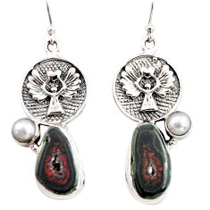 13.57cts natural brown geode druzy pearl 925 silver eagle charm earrings r12016