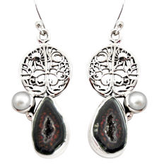 11.05cts natural brown geode druzy pearl 925 silver tree of life earrings r12017