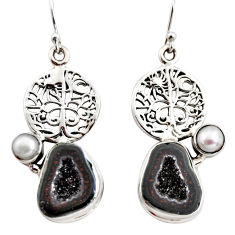 11.56cts natural brown geode druzy pearl 925 silver tree of life earrings r12018