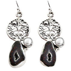 925 silver 10.77cts natural brown geode druzy pearl tree of life earrings r12019