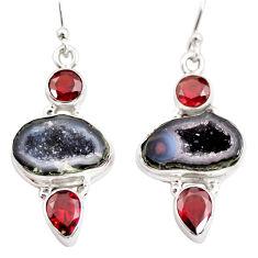 12.34cts natural brown geode druzy red garnet 925 silver dangle earrings r12023