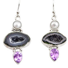 925 silver 12.72cts natural brown geode druzy amethyst pearl earrings r12024