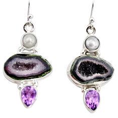 925 silver 13.46cts natural brown geode druzy amethyst pearl earrings r12030