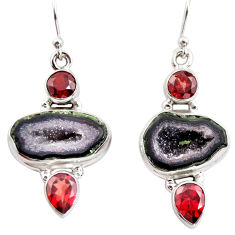 13.84cts natural brown geode druzy garnet 925 silver dangle earrings r12031