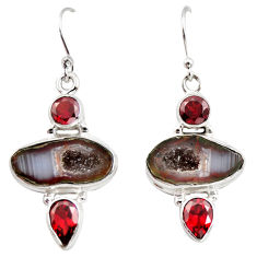 12.65cts natural brown geode druzy garnet 925 silver dangle earrings r12033