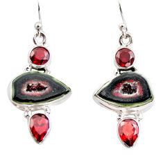 13.46cts natural brown geode druzy garnet 925 silver dangle earrings r12036
