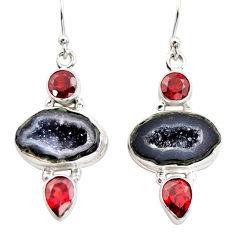 13.84cts natural brown geode druzy garnet 925 silver dangle earrings r12037