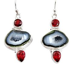15.26cts natural brown geode druzy garnet 925 silver dangle earrings r12039