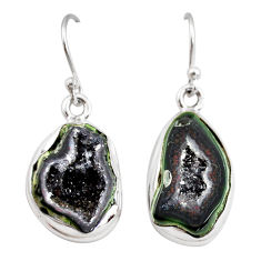 11.21cts natural brown geode druzy 925 sterling silver dangle earrings r12047