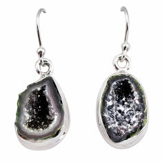 9.61cts natural brown geode druzy 925 sterling silver dangle earrings r12049