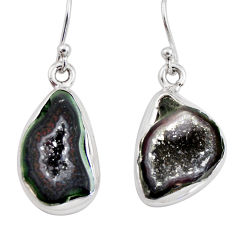 925 sterling silver 10.31cts natural brown geode druzy dangle earrings r12059
