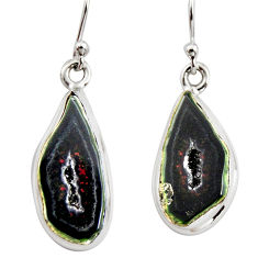 11.62cts natural brown geode druzy 925 sterling silver dangle earrings r12060