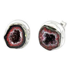 10.60cts natural brown geode druzy 925 sterling silver stud earrings r12061