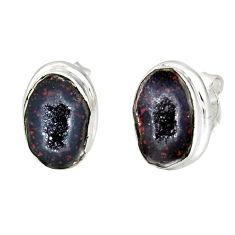 925 sterling silver 7.67cts natural brown geode druzy stud earrings r12064