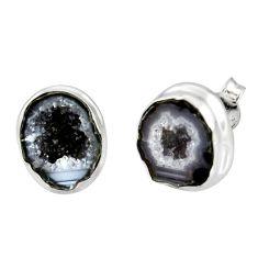 9.86cts natural brown geode druzy 925 sterling silver stud earrings r12066
