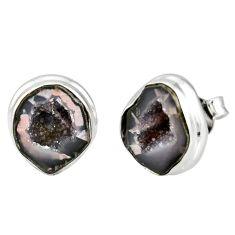 925 sterling silver 7.67cts natural brown geode druzy stud earrings r12067