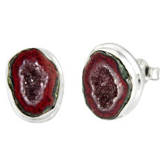 9.47cts natural brown geode druzy 925 sterling silver stud earrings r12068