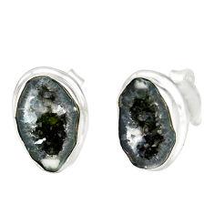 7.00cts natural brown geode druzy 925 sterling silver stud earrings r12070