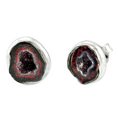 9.47cts natural brown geode druzy 925 sterling silver stud earrings r12073