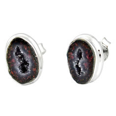 8.06cts natural brown geode druzy 925 sterling silver stud earrings r12076