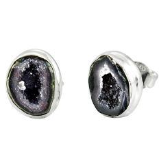 8.44cts natural brown geode druzy 925 sterling silver stud earrings r12077