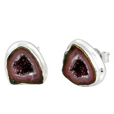 925 sterling silver 9.88cts natural brown geode druzy stud earrings r12078