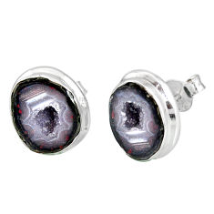 10.85cts natural brown geode druzy 925 sterling silver stud earrings r12080