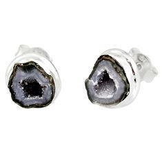 7.67cts natural brown geode druzy 925 sterling silver stud earrings r12088