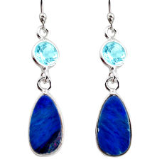 7.51cts natural blue doublet opal australian 925 silver dangle earrings r12175