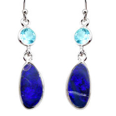 925 silver 6.94cts natural blue doublet opal australian dangle earrings r12179