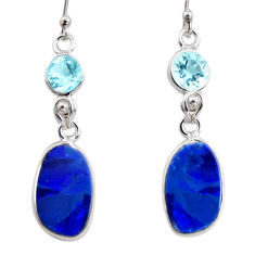 8.48cts natural blue doublet opal australian 925 silver dangle earrings r12189