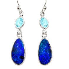 925 silver 6.99cts natural blue doublet opal australian dangle earrings r12193
