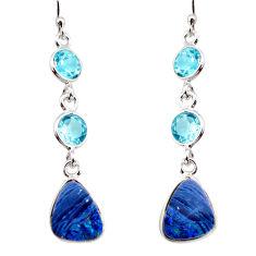 10.06cts natural blue doublet opal australian 925 silver dangle earrings r12202