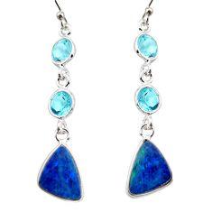 10.11cts natural blue doublet opal australian 925 silver dangle earrings r12211