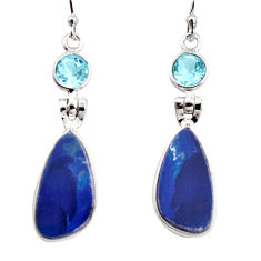 10.48cts natural blue doublet opal australian 925 silver dangle earrings r12228