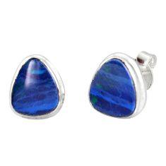 4.89cts natural blue doublet opal australian 925 silver stud earrings r12343