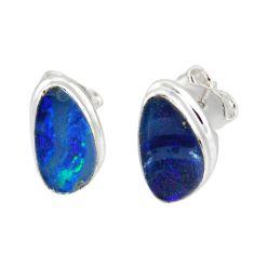 5.22cts natural blue doublet opal australian 925 silver stud earrings r12348