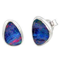 4.89cts natural blue doublet opal australian 925 silver stud earrings r12349