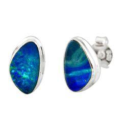 925 silver 4.89cts natural blue doublet opal australian stud earrings r12350