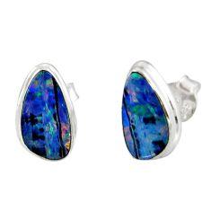 5.22cts natural blue doublet opal australian 925 silver stud earrings r12351