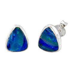 925 silver 5.22cts natural blue doublet opal australian stud earrings r12356