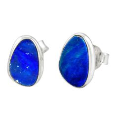 4.54cts natural blue doublet opal australian 925 silver stud earrings r12357