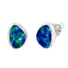 925 silver 4.89cts natural blue doublet opal australian stud earrings r12377