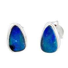 4.89cts natural blue doublet opal australian 925 silver stud earrings r12378