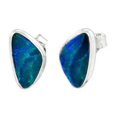 5.54cts natural blue doublet opal australian 925 silver stud earrings r12379